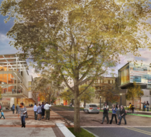 Artist rendering of Waverly Avenue showing trees and people able to walk freely without fear of being hit by automobiles.