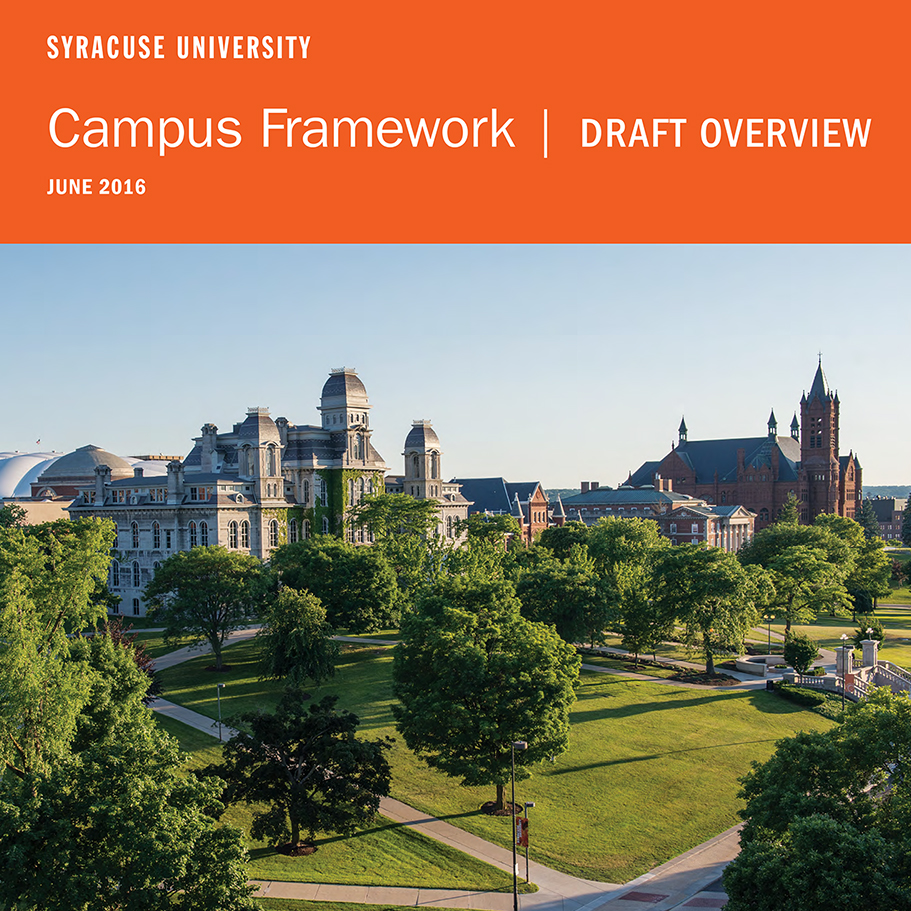 Front page of the June Campus Framework shows an aerial shot of the University. An accessible version of the PDF is available as a Word document.