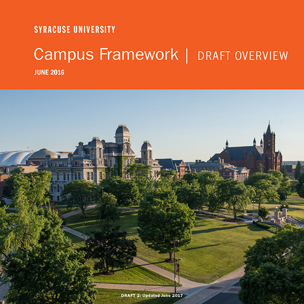 Cover of the Draft Overview shows a wide angle photo of campus.