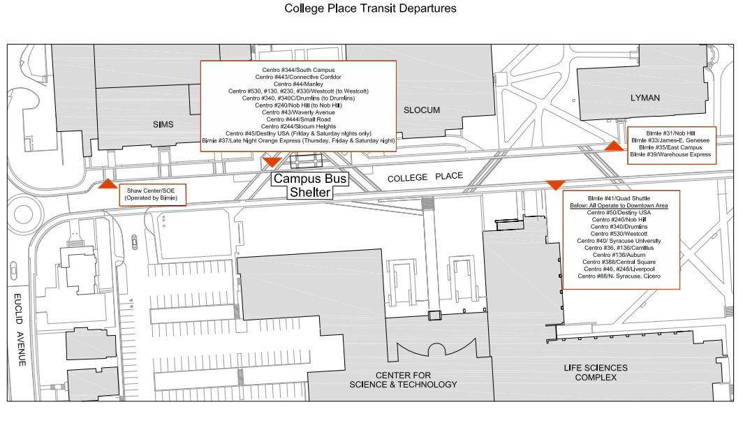 Information Regarding New Bus Stops on Waverly Avenue and College – Destiny Usa Mall Floor Plan