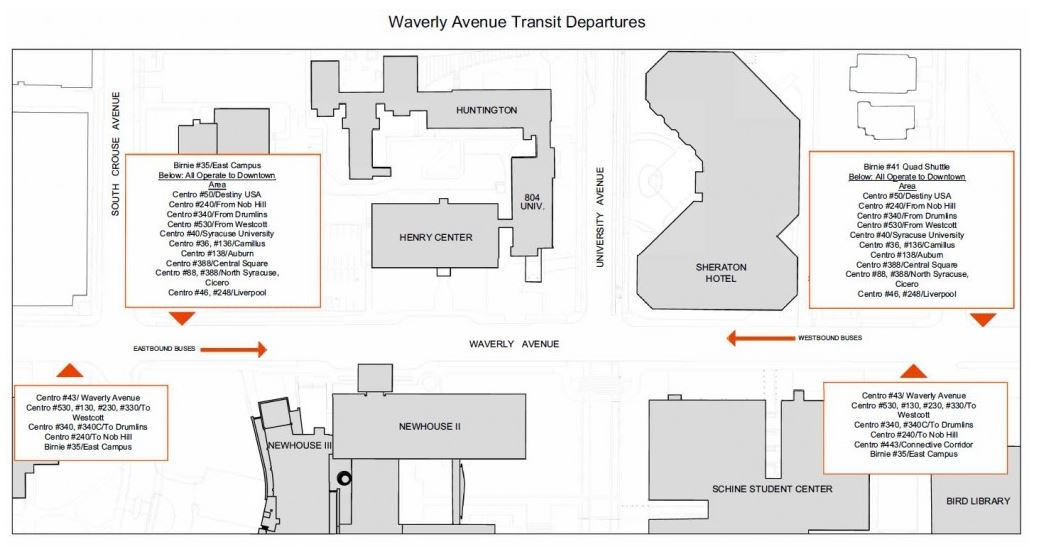 Destiny Usa Map Of Stores.Information Regarding New Bus Stops On Waverly Avenue And College