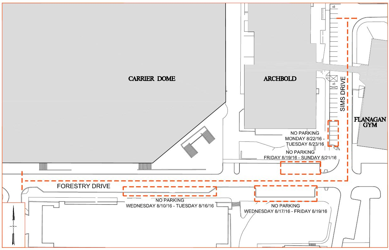 Sims Drive and Forestry Drive will be closed from the bridge at Archbold/Flanagan to Illick Hall from 6 a.m. to 6 p.m. beginning on Friday, Aug. 19, and running through Sunday, Aug. 21