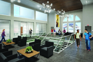 Artistic rendering of the Arch depicting an upstairs lounge area.