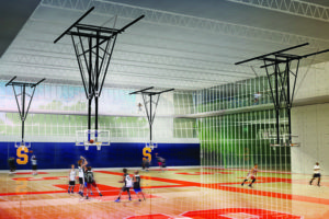 Artistic rendering of the Arch depicting an indoor basketball court