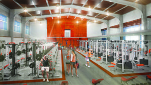 Artistic rendering of a weight room