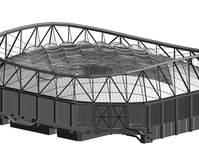 Rendering in steel with non-symmetrical roofline